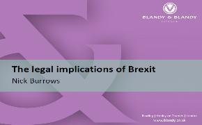 "The presentation of Nick Burrows, the partner of a British law firm ""Blandy & Blandy"" for the annual conference of ""The Law Firm Network"" on the topic – ""The legal implications of Brexit"" – 09.06.2017"